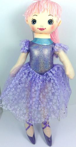 CUTE AZZ COLLECTABLE BALLERINA DANCER RAG DOLL PURPLE RAGDOLL 60CM HW-100