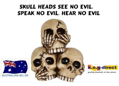 GOTHIC SKULL HEADS SEE NO EVIL SPEAK NO EVIL HEAR NO EVIL FANTASY NEW SKULLHSS