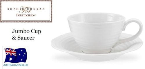 PORTMEIRION WHITE JUMBO CUP AND SAUCER SOUP BOWL BY SOPHIE CONRAN