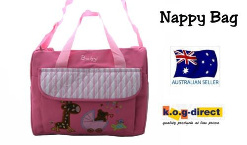 TRENDY BABY DIAPER TOTE NAPPY BAG WITH CHANGE MAT PINK HW192