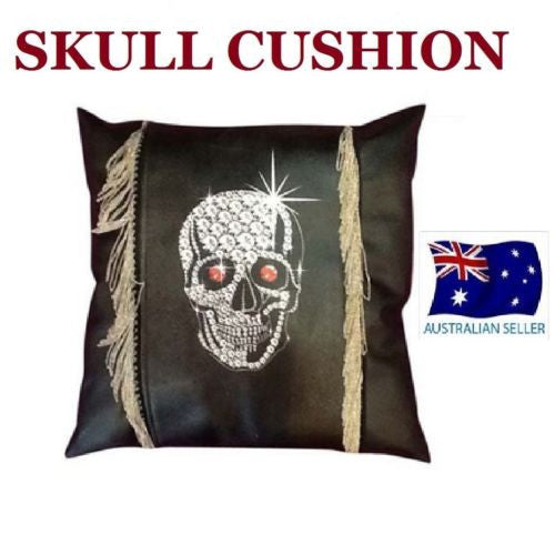 GOTHIC BLACK BLING SKULL CUSHION FAUX LEATHER WITH REAL METAL CHAINS SQUARE