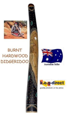 DIDGERIDOO BURNT HARDWOOD 90CM ABORIGINAL BEAUTIFULLY HAND PAINTED NEW GRN