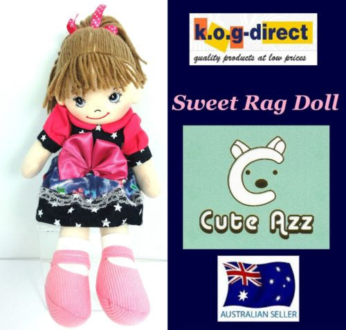 CUTE AZZ COLLECTABLE RAG DOLL DENIM DRESS PINK BOW 35 CM TALL HW-104C