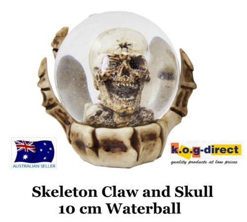 GOTHIC SKELETON CLAW AND SKULL WATERBALL WATERGLOBE NEW IN BOX