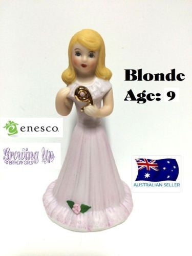 ENESCO GROWING UP GIRLS FIGURINE AGE 9 BLONDE BRAND NEW IN BOX
