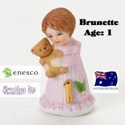 ENESCO GROWING UP GIRLS FIGURINE AGE 1 BRUNETTE BRAND NEW IN BOX