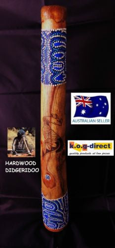 DIDGERIDOO BURNT HARDWOOD 60CM ABORIGINAL BEAUTIFULLY HAND PAINTED NEW BL