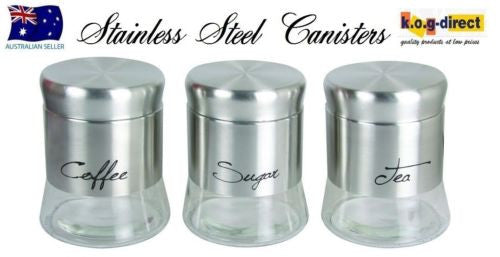 SET OF 3 GLASS CANISTER SET TEA COFFEE AND SUGAR STAINLESS STEEL NEW IN BOX