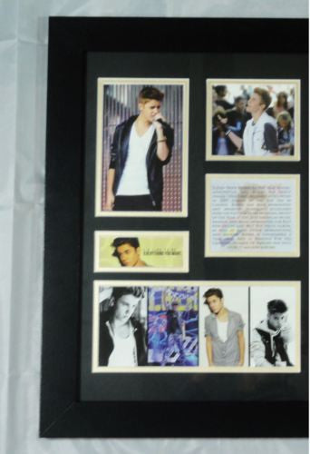 JUSTIN BIEBER MEMORABILIA LIMITED EDITION WITH CERTIFICATE FRAMED & GLASS