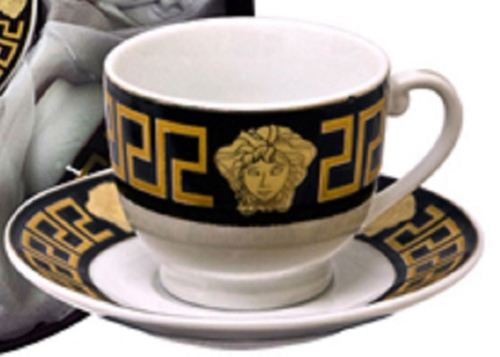 THE HOUSE OF FLORENCE MEDUSA FACE ESPRESSO COFFEE CUPS & SAUCERS SET OF 6 BLACK & GOLD AJ107