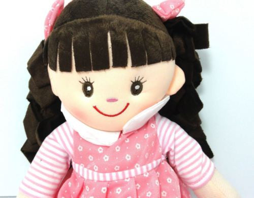 CUTE AZZ COLLECTABLE RAG DOLL PINK DRESS BROWN HAIR RAGDOLL 50 CM TALL HW-102