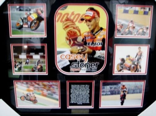 CASEY STONER MEMORABILIA LIMITED EDITION WITH CERTIFICATE FRAMED & GLASS
