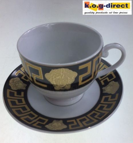 MILANO MEDUSA FACE ESPRESSO COFFEE CUPS & SAUCERS SET OF 6 BLACK & GOLD RM107