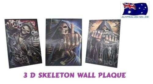 3 D SKULL SKELETON WALL PLAQUE WALL ART