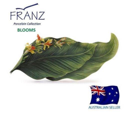 FRANZ COLLECTION PORCELAIN SCULPTURED BRILLIANT BLOOMS CANNA LILY FLOWER TRAY