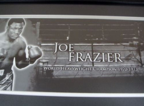 JOE FRAZIER MEMORABILIA LIMITED EDITION WITH CERTIFICATE FRAMED & GLASS