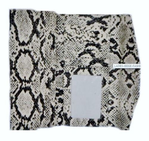 LADIES BEIGE FASHION PURSE WALLET WITH G DESIGN (B) SNAKE SKIN PRINT
