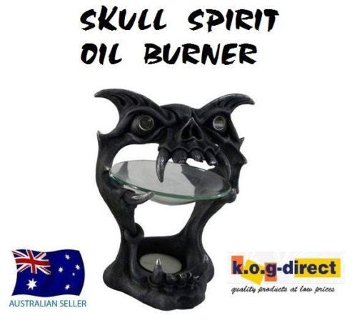 GOTHIC SKULL SPIRIT OIL BURNER  BEAUTIFULLY DETAILED  FANTASY (B)