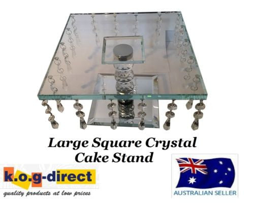 WEDDING ENGAGEMENT 25CM SQUARE CRYSTAL CAKE STAND WITH HANGING CRYSTALS HW-67
