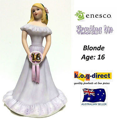 ENESCO GROWING UP GIRLS FIGURINE AGE 16 BLONDE BRAND NEW IN BOX