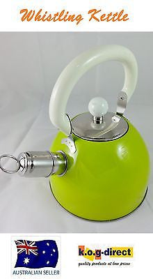 FINE KITCHEN STAINLESS STEEL STOVE TOP WHISTLING KETTLE TEA COFFEE -  LIME 2L