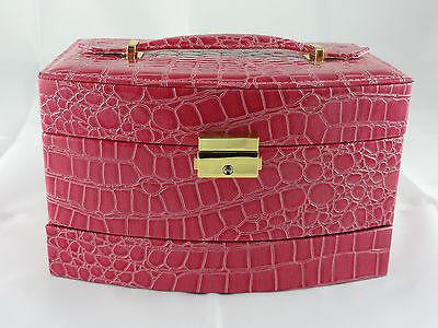 JEWELLERY BOX FAUX LEATHER LOCK & KEY AUTOMATIC PULL OUT DRAWERS PINK W36
