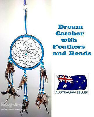 DREAM CATCHER NATIVE AMERICAN INDIAN STYLE DREAMCATCHER BLUE FEATHERS AND BEADS