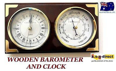 BAROMETER & CLOCK * CAMBRIDGE *  WOOD PIANO FINISH WITH GOLD TRIMINGS (B)