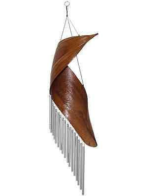 WIND CHIME BAMBOO LEAF SWIRL WITH 18 SILVER STEEL TUBES WINDCHIME BAMSWIWC