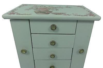LARGE WHITE FLORAL WOODEN JEWELLERY BOX W 4 DRAWERS AND NECKLACE ORGANISER HW27
