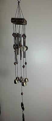 WIND CHIME LUCKY COINS CHINESE WOODEN PAGODA & BRASS TUBES & BELLS ELEPHANT W30