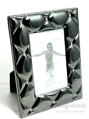 WHITEHILL STUDIO COCO PHOTO FRAME 4 X 6 DARK SILVER PLATED WITH CLEAR DIAMANTES