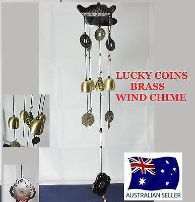 WIND CHIME BRASS LUCKY COINS WITH CHINESE WOODEN PAGODA & BRASS BELLS BUDDHA W31