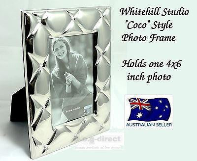 WHITEHILL STUDIO COCO PHOTO FRAME 4 X 6 LIGHT SILVER PLATED WITH PEARL ACCENTS
