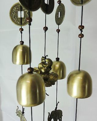 WIND CHIME BRASS LUCKY COINS & CHINESE WOODEN PAGODA & BRASS BELLS ELEPHANT W31