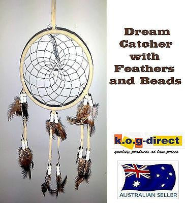 DREAM CATCHER NATIVE AMERICAN INDIAN STYLE DREAMCATCHER BEIGE FEATHERS AND BEADS