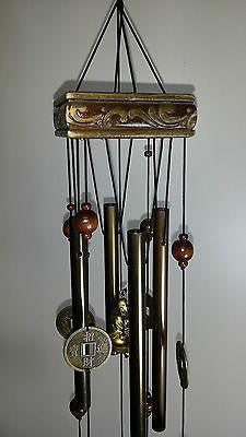WIND CHIME LUCKY COINS CHINESE WOODEN PAGODA & BRASS TUBES & BELLS BUDDHA W30