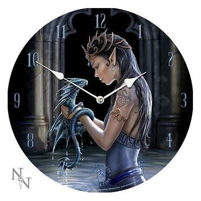 ORIGINAL ANNE STOKES LARGE WALL CLOCK WATER DRAGON NEW IN BOX 34CM