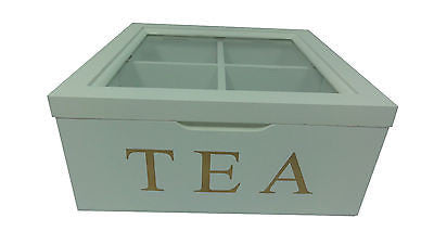 WHITE WOODEN TEA BOX CONTAINER GLASS LID WITH 4 DIVISIONS HOLDS 40 BAGS HW-20