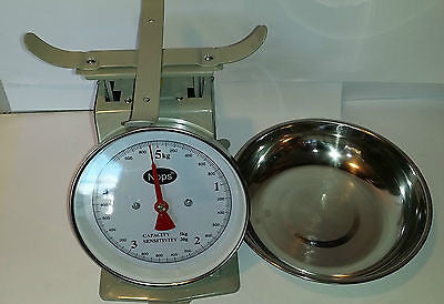 RETRO VINTAGE METAL ENAMEL OYSTER GREY KITCHEN SCALE WITH S/STEEL PAN 5KG HW-4