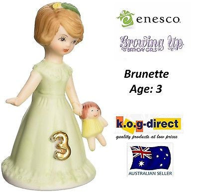 ENESCO GROWING UP GIRLS FIGURINE AGE 3 BRUNETTE BRAND NEW IN BOX