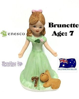 ENESCO GROWING UP GIRLS FIGURINE AGE 7 BRUNETTE BRAND NEW IN BOX