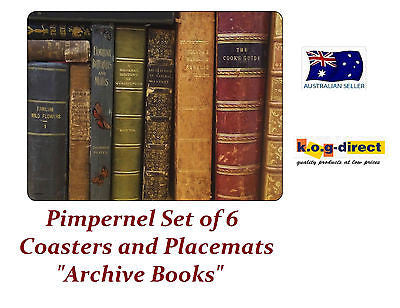 Pimpernel ARCHIVE BOOKS Set Of  6 Placemats & 6 Coasters Placemat Coaster