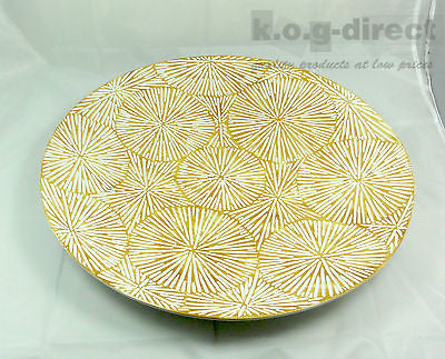 JUMBO DECORATIVE CERAMIC PLATTER WHITE GOLD WITH CARVED OUT DESIGN