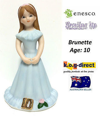 ENESCO GROWING UP GIRLS FIGURINE AGE 10 BRUNETTE BRAND NEW IN BOX