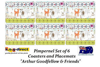 Pimpernel ARTHUR GOODFELLOW & FRIENDS cats Set Of 6 Placemats & 6 Coasters