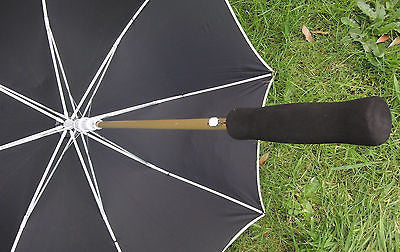 CLASSIC BLACK UMBRELLA CREAM TRIM AND CARRY CASE 100CM DIAMETER AUTOMATIC OPEN
