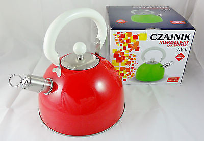 FINE KITCHEN  STAINLESS STEEL STOVE TOP WHISTLING KETTLE TEA COFFEE -  RED 4L
