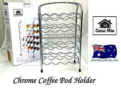 CASA MIA CHROME NESPRESSO COFFEE CAPSULES POD HOLDER RACK HOLDS 40 PODS