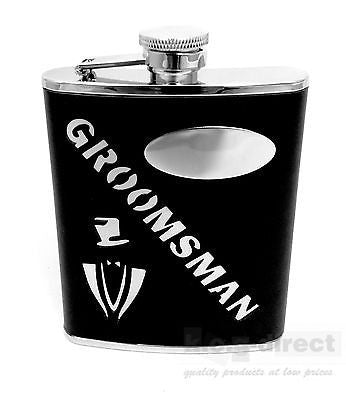 WEDDING GROOMSMAN 6OZ HIP FLASK STAINLESS STEEL